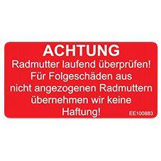 Aufkleber -Achtung Radmutter - ALGEMA SHOP
